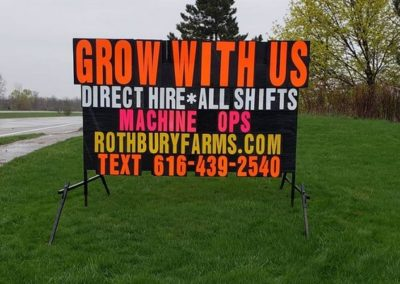 Big neon letters helping Rothbury Farms get new people