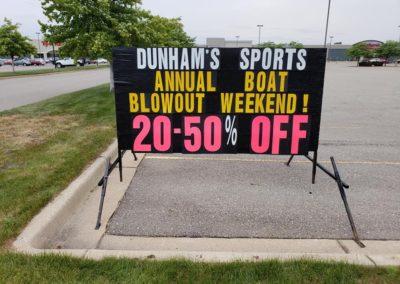 Light Bright Portable Black Signs Dunhams retail seasonal sale
