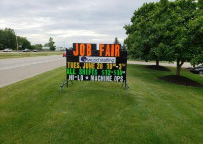 Light Bright Portable Black Signs Elwood Staffing job fair announcement
