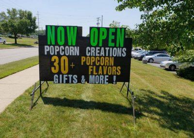 Popcorn Creations in Grandville uses Light Bright Signs