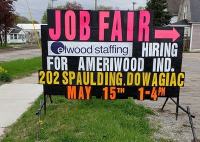 Elwood Staffing Job Fair in Dowagiac and a Light Bright Sign