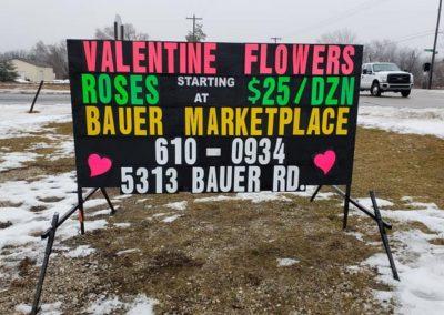 Bauer Marketplace Hudsonville Valentine Day portable black sign